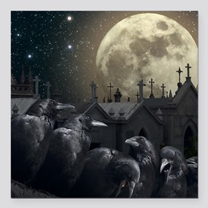 """Gothic Crows Square Car Magnet 3"""" x 3"""""""