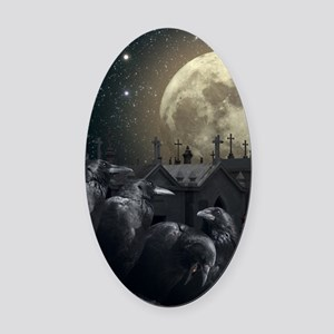 Gothic Crows Oval Car Magnet