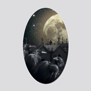 Gothic Crows 20x12 Oval Wall Decal