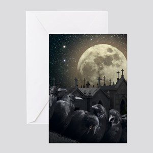 Full moon greeting cards cafepress gothic crows greeting card m4hsunfo