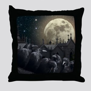 Gothic Crows Throw Pillow