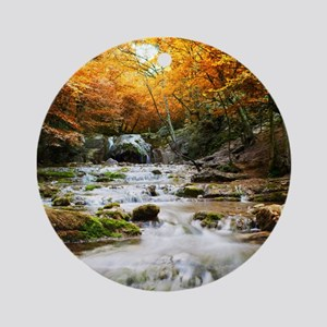 Autumn Forest Waterfall Round Ornament