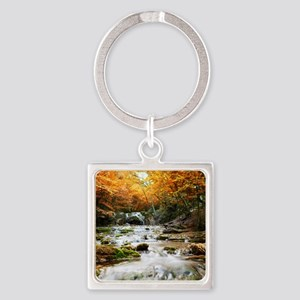 Autumn Forest Waterfall Square Keychain