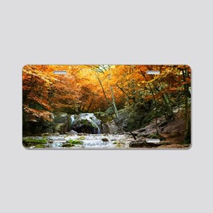Autumn Forest Waterfall Aluminum License Plate