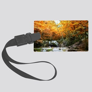 Autumn Forest Waterfall Large Luggage Tag