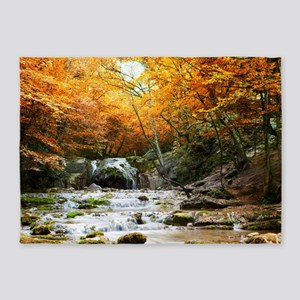 Autumn Forest Waterfall 5'x7'Area Rug
