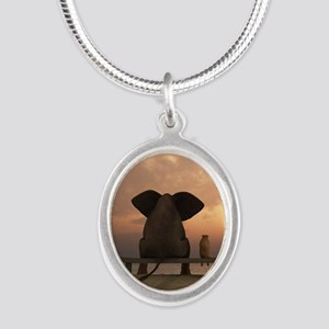 Elephant and Dog Friends Silver Oval Necklace
