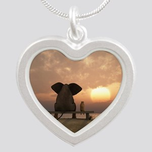 Elephant and Dog Friends Silver Heart Necklace