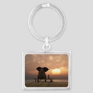 Elephant and Dog Friends Landscape Keychain