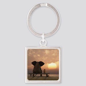 Elephant and Dog Friends Square Keychain