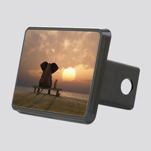 Elephant and Dog Friends Rectangular Hitch Cover