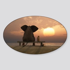 Elephant and Dog Friends Sticker (Oval)