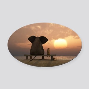 Elephant and Dog Friends Oval Car Magnet