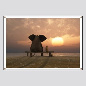 Elephant and Dog Friends Banner