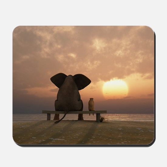 Elephant and Dog Friends Mousepad