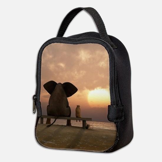 Elephant and Dog Friends Neoprene Lunch Bag