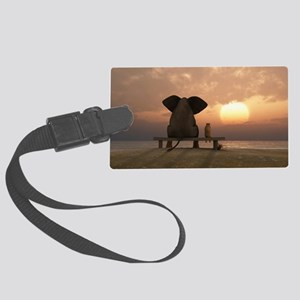 Elephant and Dog Friends Large Luggage Tag