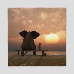 Elephant and Dog Friends Queen Duvet