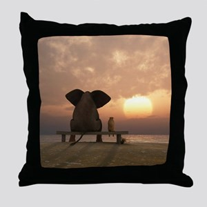Elephant and Dog Friends Throw Pillow