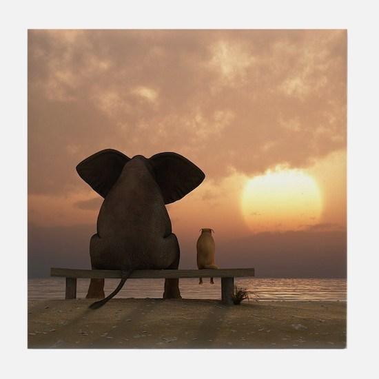 Elephant and Dog Friends Tile Coaster
