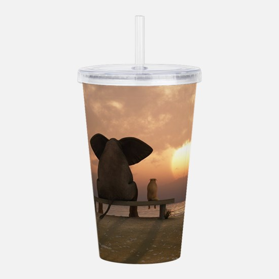 Elephant and Dog Frien Acrylic Double-wall Tumbler