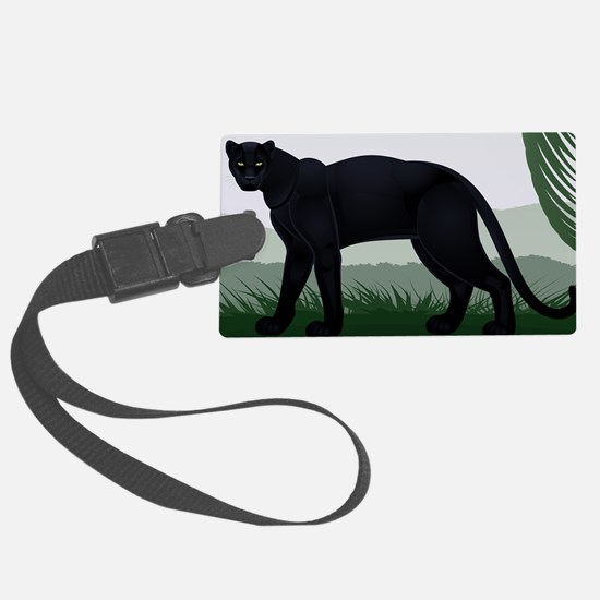 Black Jungle Panther Luggage Tag