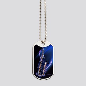Blue Saxophone Dog Tags
