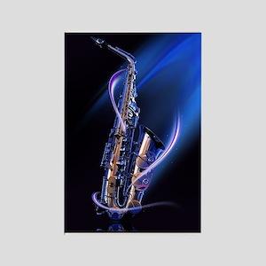 Blue Saxophone Rectangle Magnet