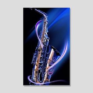 Blue Saxophone 20x12 Wall Decal