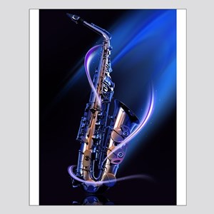 Blue Saxophone Small Poster