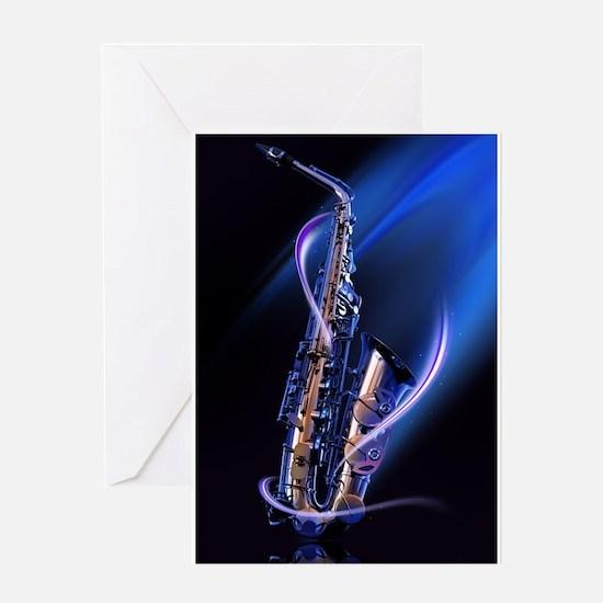Blue Saxophone Greeting Card