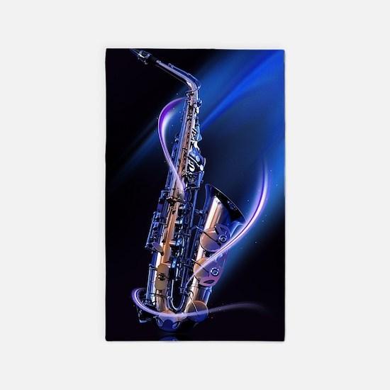 Blue Saxophone Area Rug