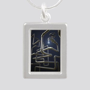Water Pipeline Maze Silver Portrait Necklace