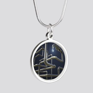 Water Pipeline Maze Silver Round Necklace