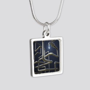 Water Pipeline Maze Silver Square Necklace