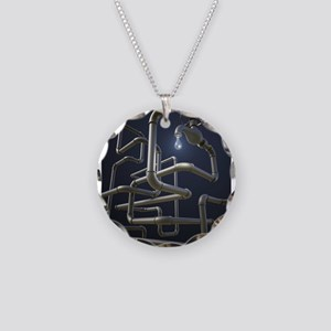 Water Pipeline Maze Necklace Circle Charm