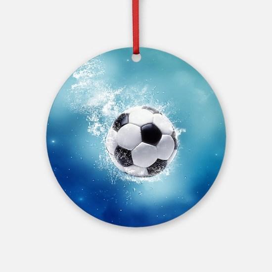 Soccer Water Splash Round Ornament