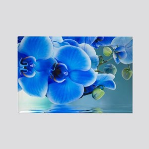 Blue Orchids Rectangle Magnet