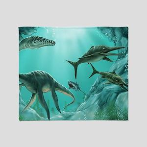 Underwater Dinosaur Throw Blanket