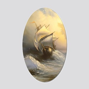 Stormy Frigate Painting 20x12 Oval Wall Decal