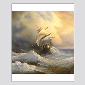 Stormy Frigate Painting Small Poster