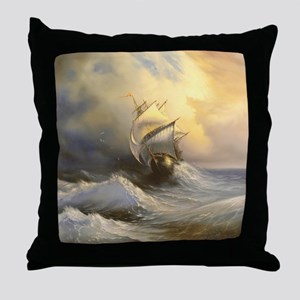 Stormy Frigate Painting Throw Pillow