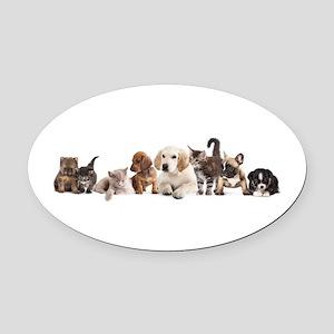 Cute Pet Panorama Oval Car Magnet