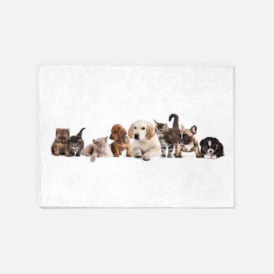 Cute Pet Panorama 5'x7'Area Rug