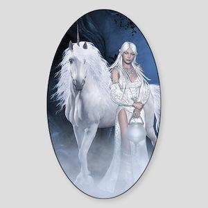 White Lady and Unicorn Sticker (Oval)
