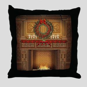 Christmas Fireplace Throw Pillow