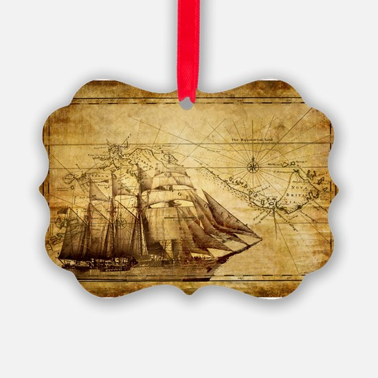 Old Ship Map Ornament