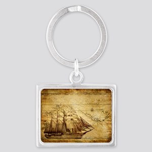 Old Ship Map Landscape Keychain