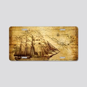 Old Ship Map Aluminum License Plate