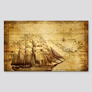 Old Ship Map Sticker (Rectangle)